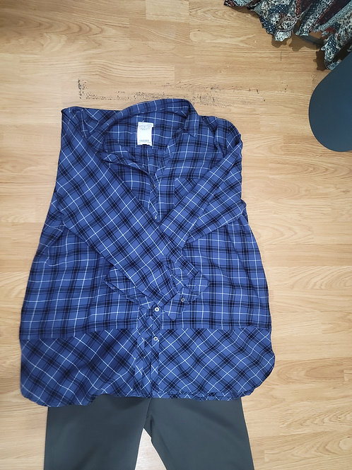 J Jill Plaid Bottom Detail Camp Shirt sz XL