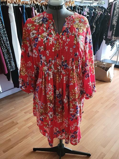 Suzanne Bestro Floral Pleated Dress sz XL