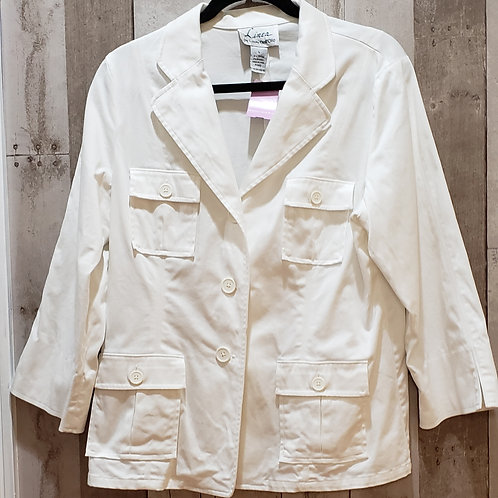 Linea by Louis Dell'Olio White Stretch Jacket Size Large