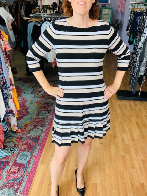 White House Black Market Stripe Pleated Dress sz Large
