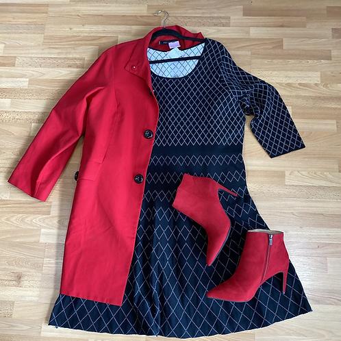 Anne Klein red trench coat XL