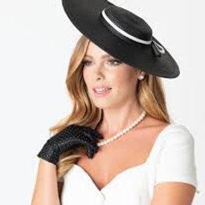 Unique Vintage Black & White Ribbon Disc Hat Headband