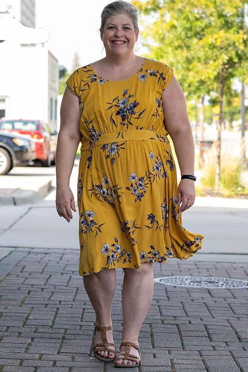 Torrid Marigold Floral Midi Dress sz 4
