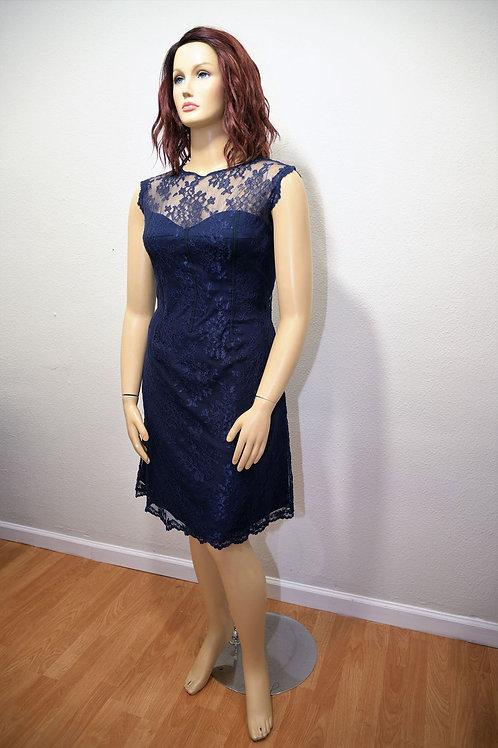 Monique Lhuillier Navy Lace Dress Size Large