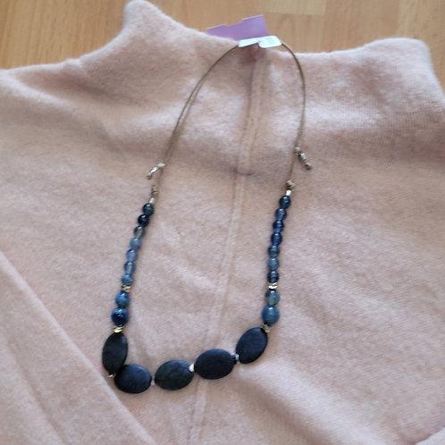 Adjustable Blue Bead Necklace