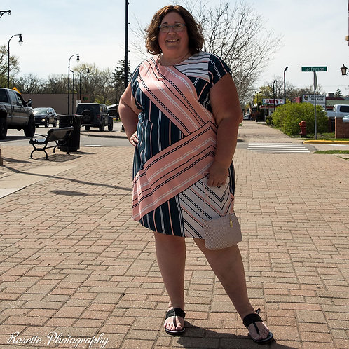 Eloquii Striped Dress with Halter-Style Neck Tie Size 26