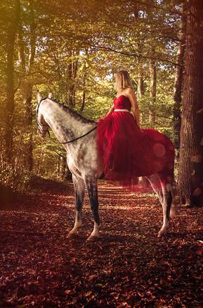 frau-reiterin-rotes kleid-schimmel-pferd-wald-fotoshooting