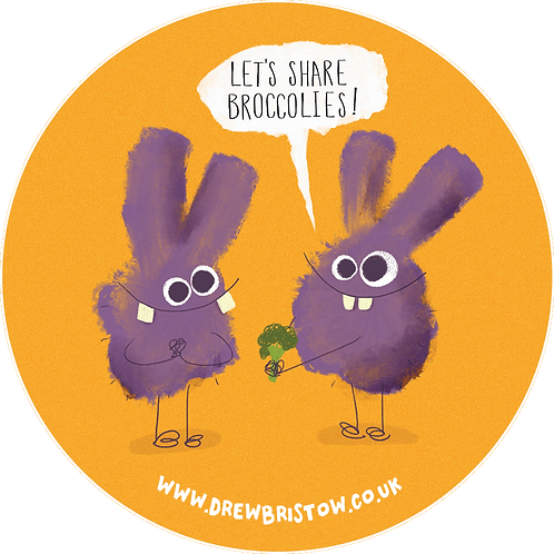 'LET'S SHARE BROCCOLIES!' 80mm vinyl sticker