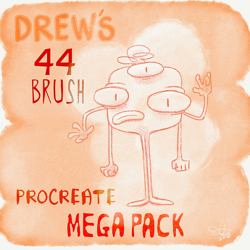Drew's 44 Brush PROCREATE MEGA PACK - Digital iPad brushes