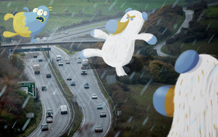 Uh oh! The Snooglebears are chasing the Snoogleberry over the A27, look out cars! [Photo by Andrew Whitman]