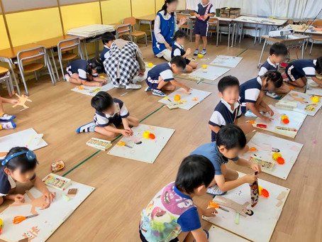 【出張レッスン】呉の幼稚園でコラージュ!