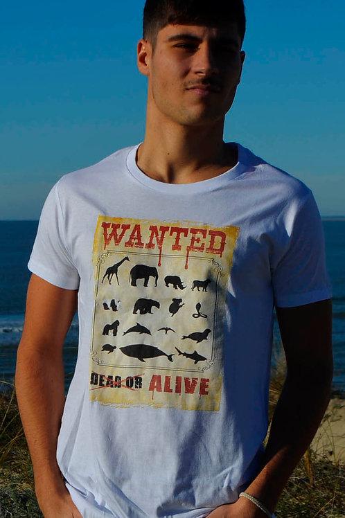 T-shirt WANTED blanc