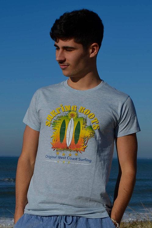 T-shirt SURFIN ROOTS bleu clair chiné