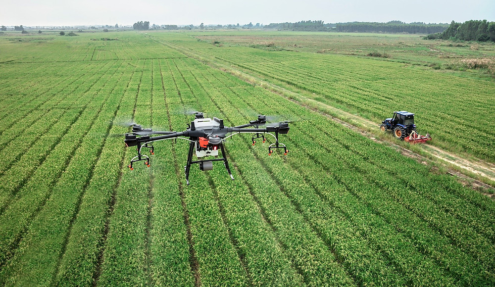 A high-tech drone capturing the open fields on a gorgeous farm