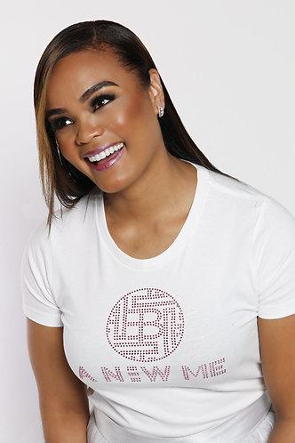 White with Pink Rhinestones Ladies Crew Shirt