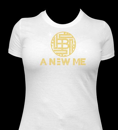 White with Gold Rhinestones Ladies Crew Shirt