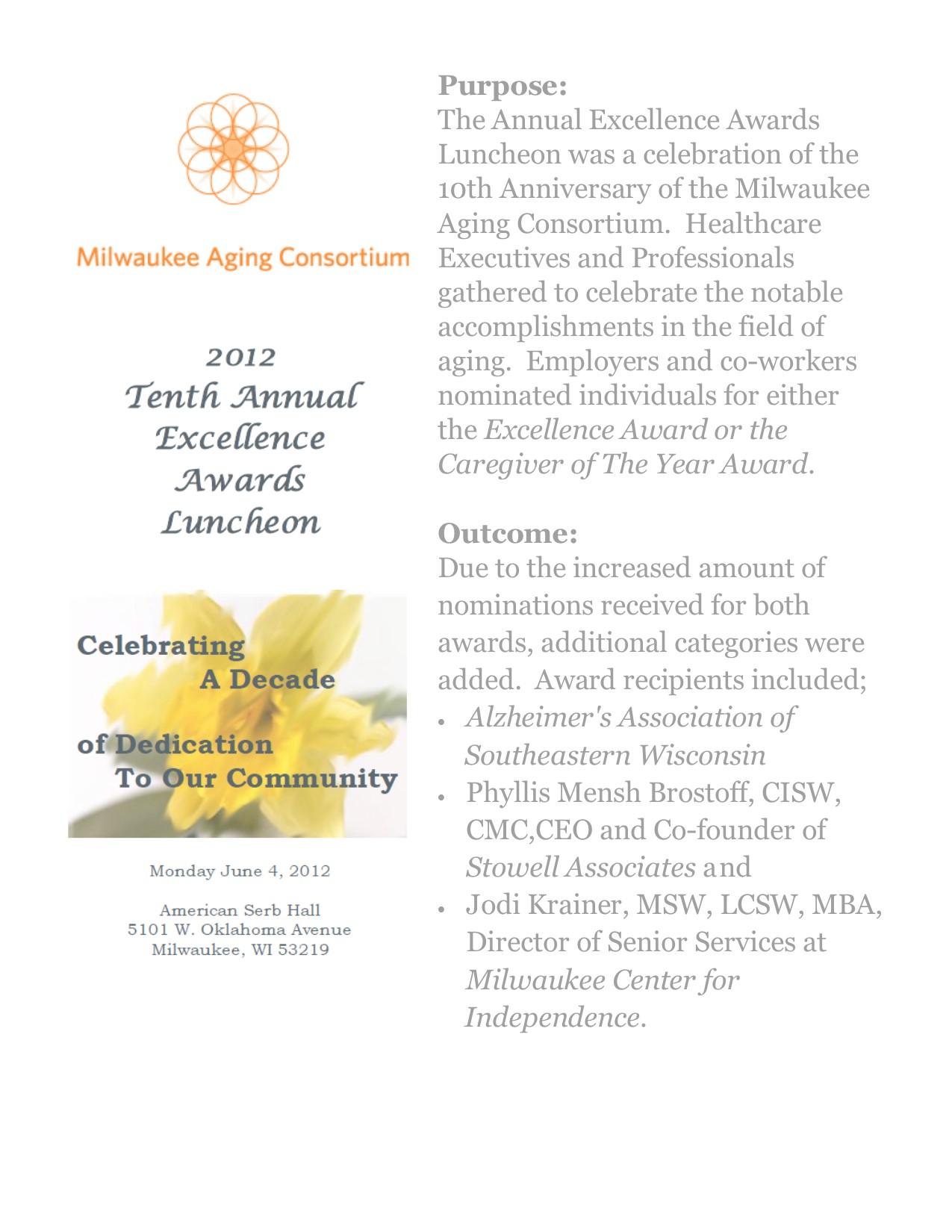2012 Tenth Annual Excellence Award