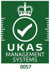 UKAS Accreditation Symbol - white on gre