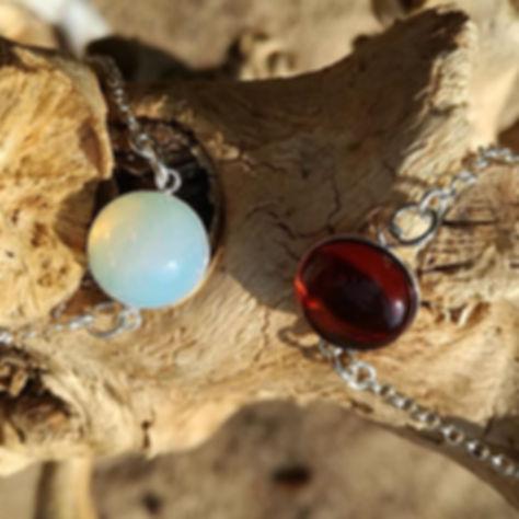 Bracelets- Pierre de lune et ambre