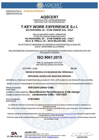 Certificato_ISO_9001_T_Key_Work_Experien