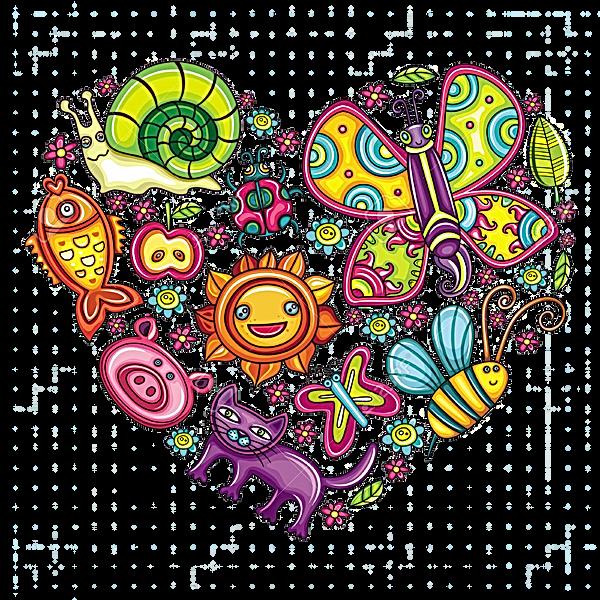 12249716-동식물-테마-마음-동물-조류와-식물의-다채로운-아이콘의-