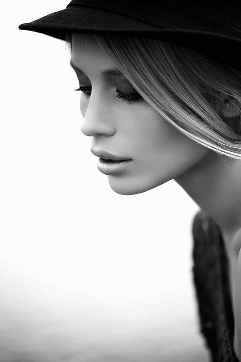 Model in Black & White - stylist Lawrence, KS
