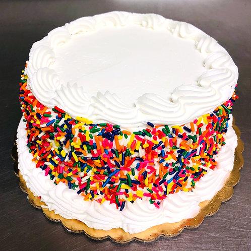 Vanilla Buttercream Sprinkle Cake