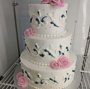 Custom Navy and Pink Wedding Cake