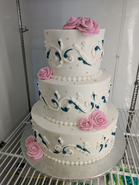 Custom Navy and Pink Wedding Cake