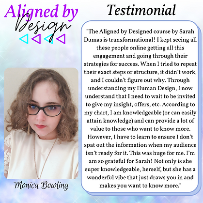 Aligned by Design Testimonial - Monica.p