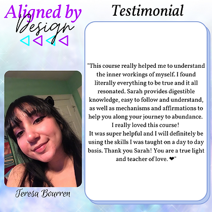 Aligned by Design Testimonial - Teresa.p