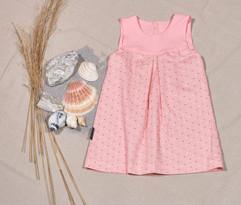Blusonkleid pink, gepunktet
