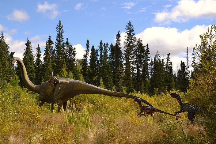 Apatosaurus & Utahraptors.JPG