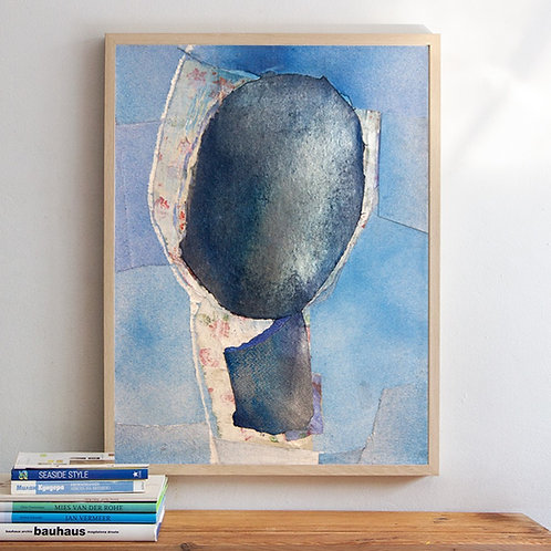 Abstract Painting with Blue Head