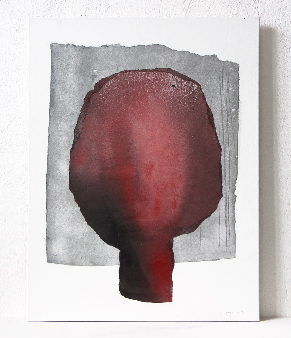 Abstract Head in Red on Silver