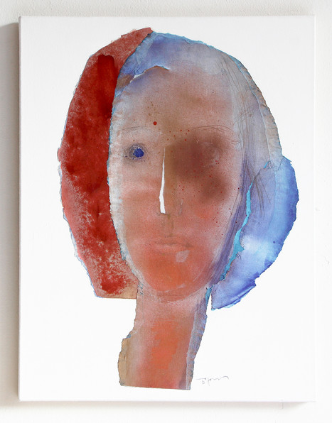 Abstract Woman Portrait in Red and Blue