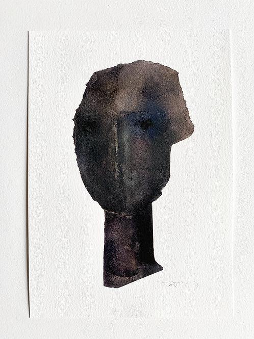 Black Abstract Head - art print
