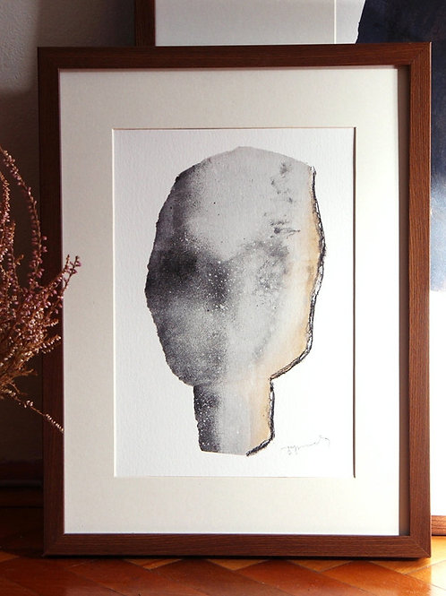Abstract Wall Art with Grey Head