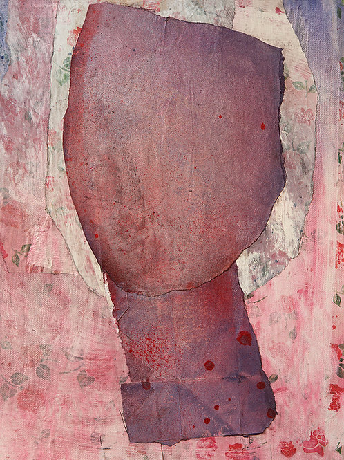 Abstract head of a woman in dusty rose