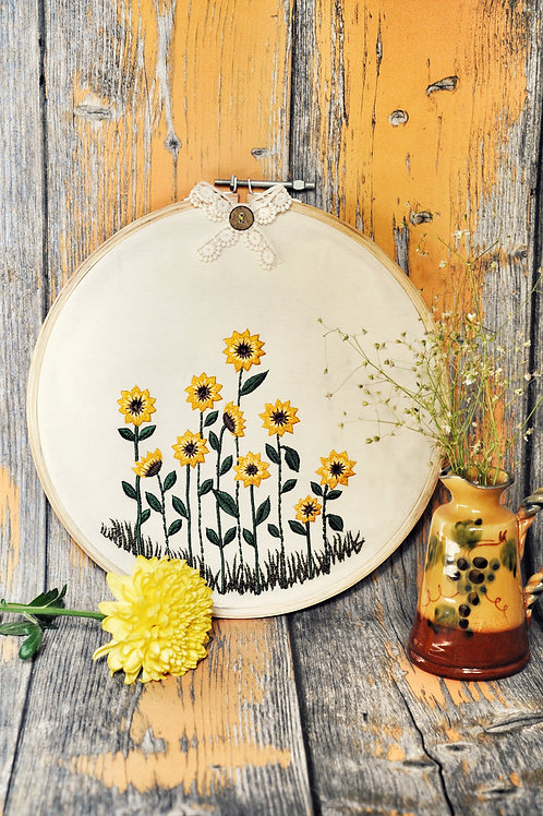 Sunflower Fields Embroidery Hoop Wall Art