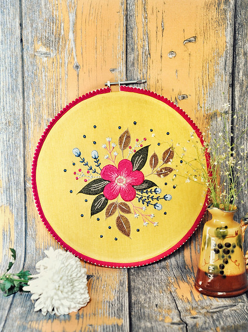Floral Burst Embroidery Hoop Wall Art