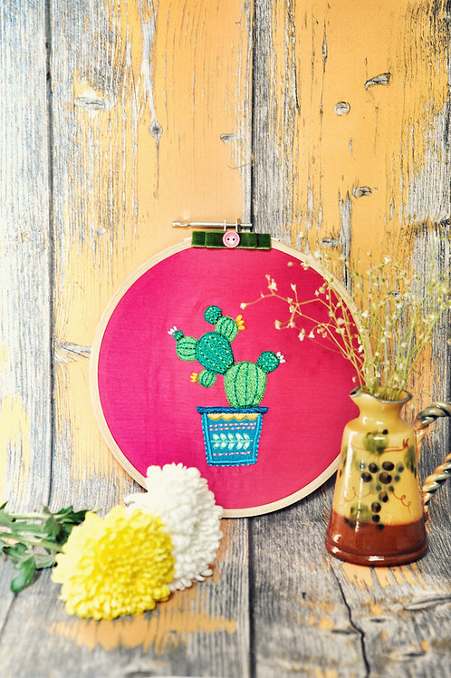 Cool Cactus Embroidery Hoop Wall Art