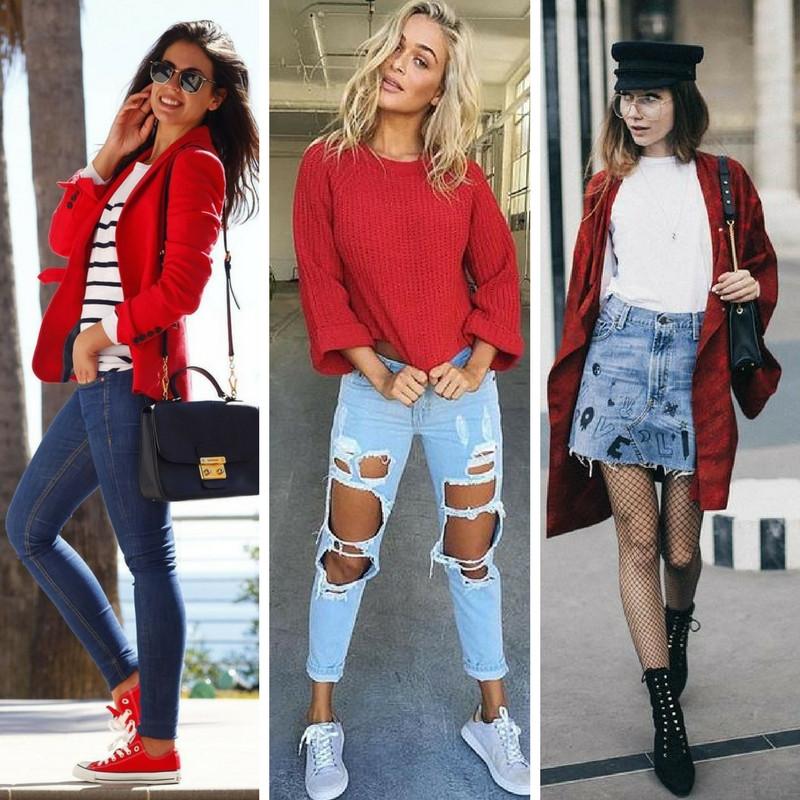 looks vermelho com jeans
