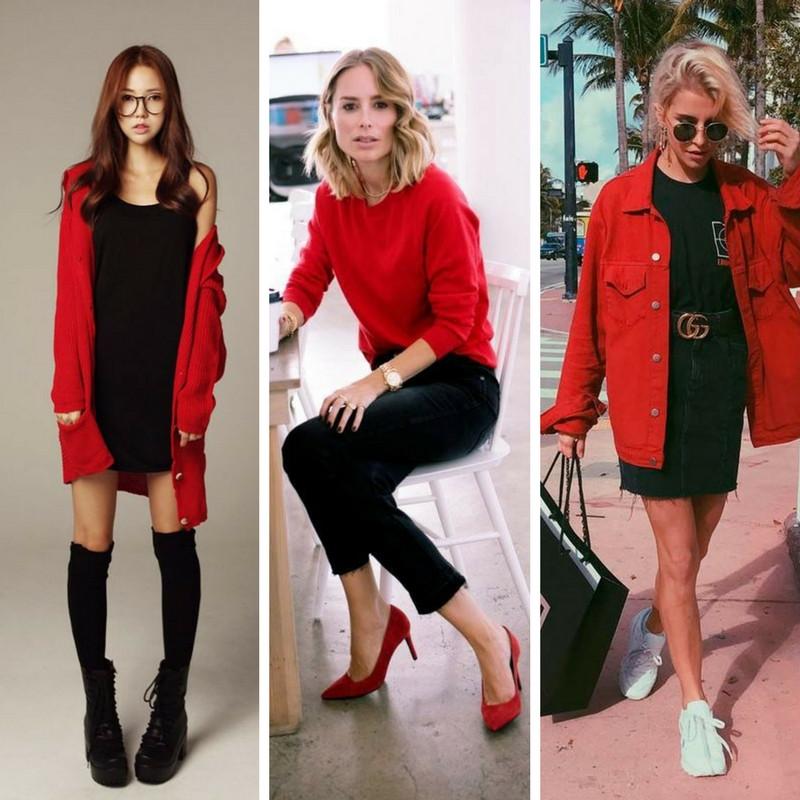 looks vermelho e preto