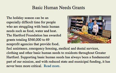 Hartford Foundation blurb about Cornerst
