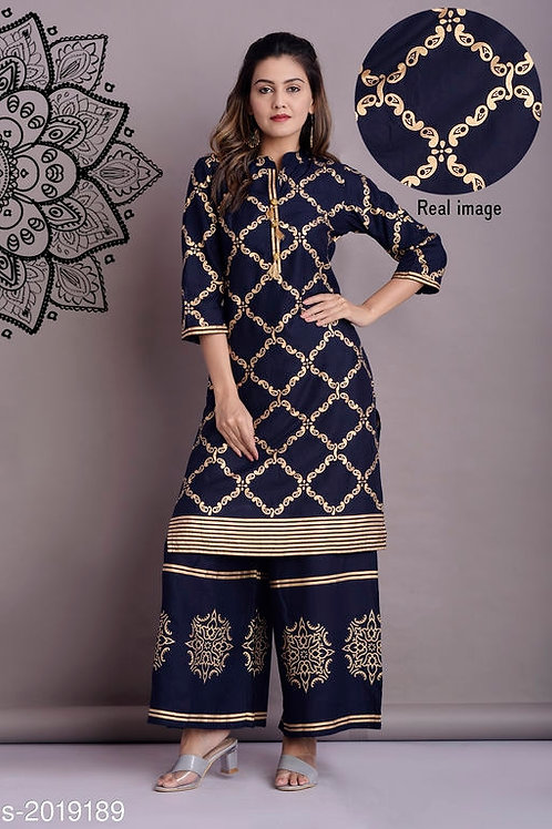 Women Rayon Printed Kurta Set with Skirt