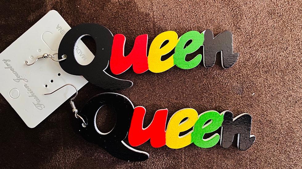 Queen Wooden Painted Earrings