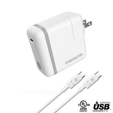 ENERGEAR 27W USB C Charger, Foldable Plug, USB-IF/UL Certified