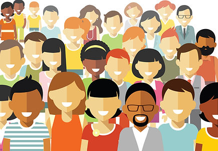 smiling faces of different races
