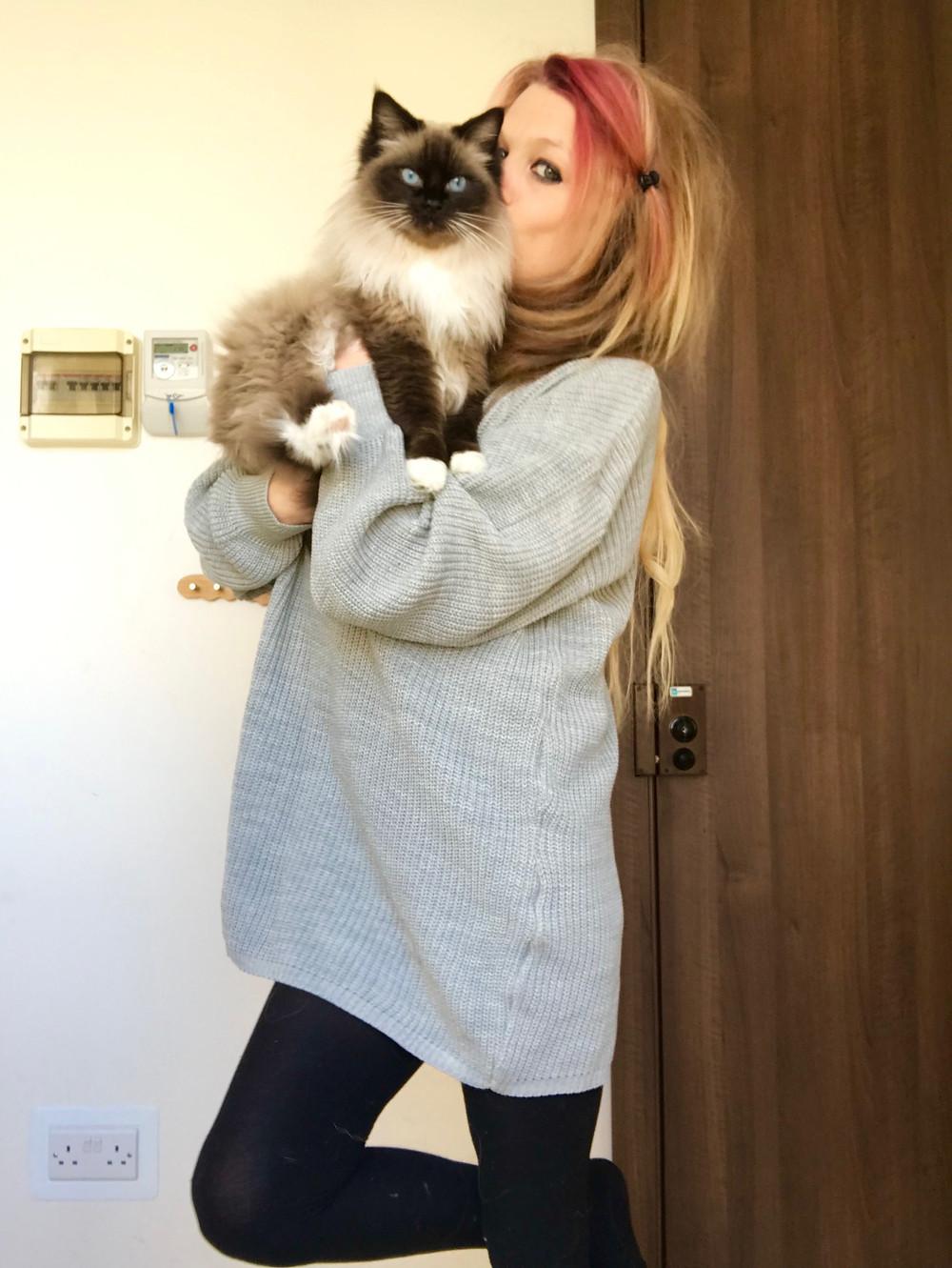 Grey Knitted Turtleneck Mini Jumper Dress: